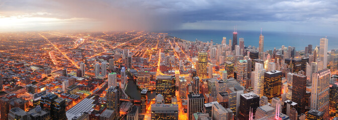 Wall Mural - Chicago downtown aerial panorama