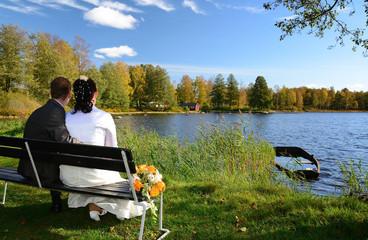 Newlyweds enjoying the beautiful landscape
