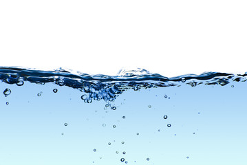 Isolated blue water splashing with bubbles and water drops - abs