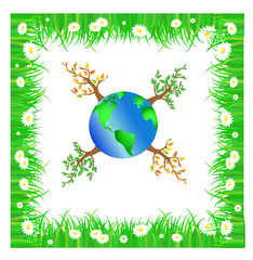 Illustration of green planet with trees
