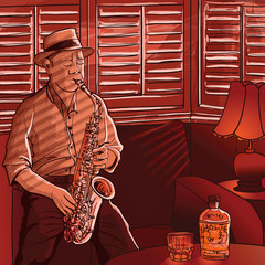 Wall Mural - saxophonist