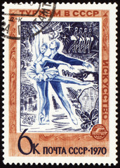 Russian ballet dancers on post stamp