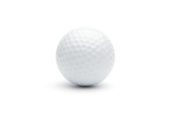 Close up of a golf ball on white background