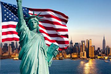 Fototapete - New York skyline, statue de la liberté