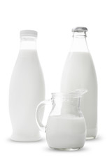 Jar and bottle with milk