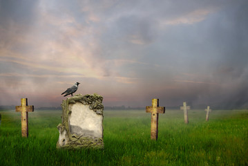 Gravestones at sunrise