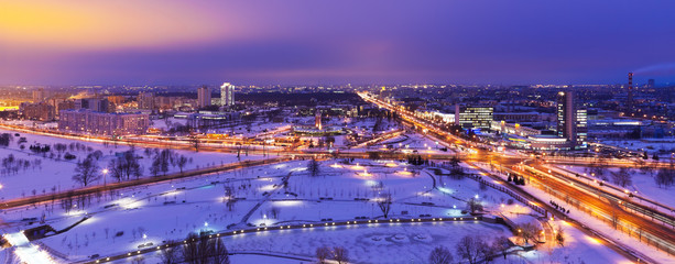 Poster Bangkok Night winter aerial panorama of Minsk, Belarus