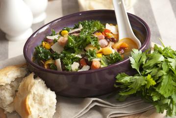 Bean, kale and bacon soup