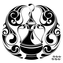 Aquarius zodiac vector sign.Tattoo design