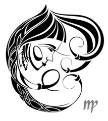 Virgo zodiac vector sign.Tattoo design
