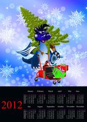 Dark blue dragon-New Year's a symbol of 2012.Calendar