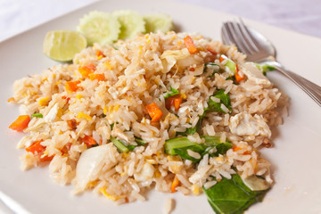 vegetable fried rice with spoon