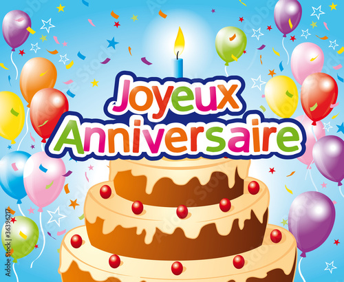 Joyeux Anniversaire Bougie 1 Stock Image And Royalty Free