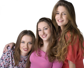 Portrait of three young happy girls