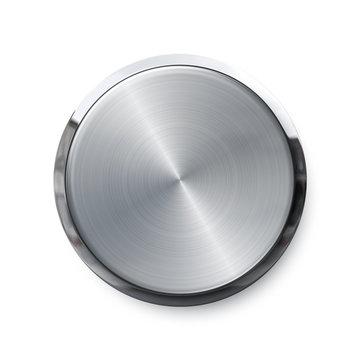 Blank silver push button or volume knob