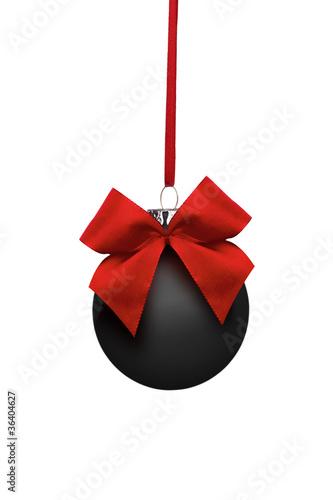schwarze weihnachtskugel mit roter schleife stockfotos und lizenzfreie bilder auf. Black Bedroom Furniture Sets. Home Design Ideas