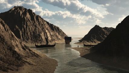 Viking Longships in Icelandic Inlet