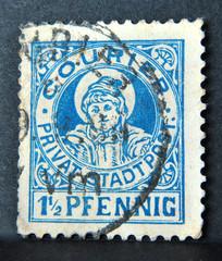 Alte deutsche Briefmarke - Privatstadtpost - 1 1/2 Pfennig
