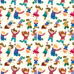 cartoon child jump seamless pattern