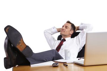 Business, Mann, am Arbeitsplatz 07, entspannen