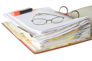 open file folder with spectacles and text marker