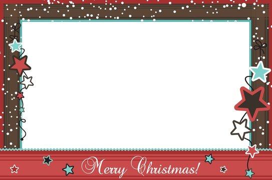 Christmas photo frame with stars, vector