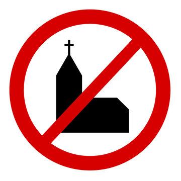 Verbotstafel mit Kirchensymbol