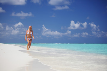 happy tropical girl run