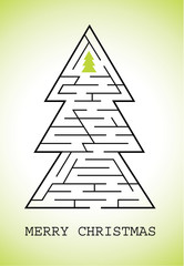 Christmas greeting with labyrinth tree