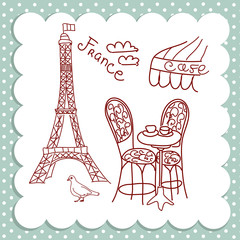 Self adhesive Wall Murals Doodle Cafe in Paris