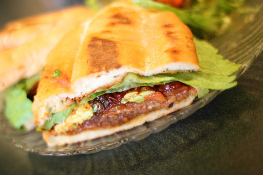 Torta Milanese or Mexican style sandwich at a local restaurant.