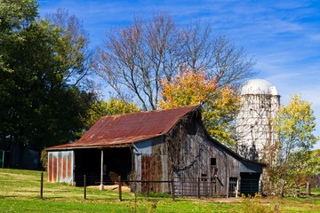 Old Barn and White Silo