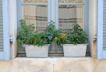 two metal flower pots on a windowsill in Lourmarin, France