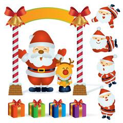 Santa, Reindeer and dwarf