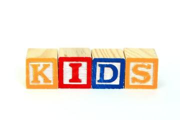 The word kids in alphabet blocks