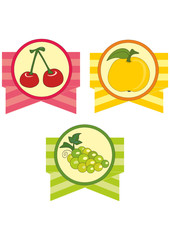 Set of emblems with fruits