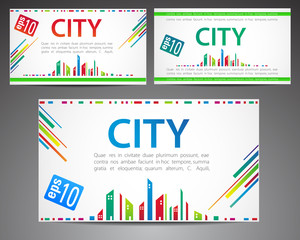 Set of cards. City theme
