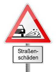 Straße Schild Löcher