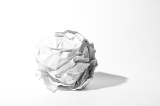 ball of crumpled paper on white background