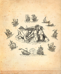 God Neptune with sailboats illustration