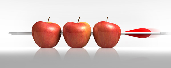 Freccia tre mele in un colpo in bianco