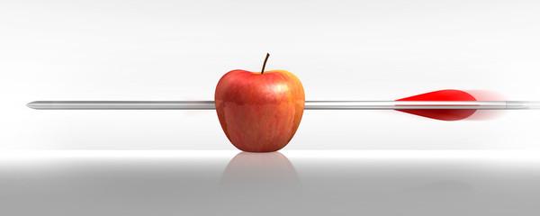 Freccia mela in bianco