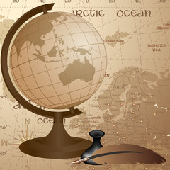Geographic vintage background with globe