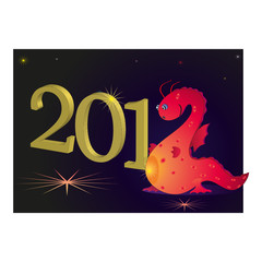 2012 New Year with red dragon and darkness
