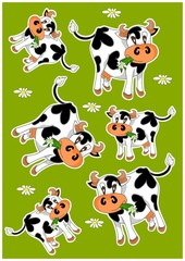 Crazy cows - green background with animals