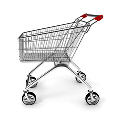 3d shopping cart, on white background