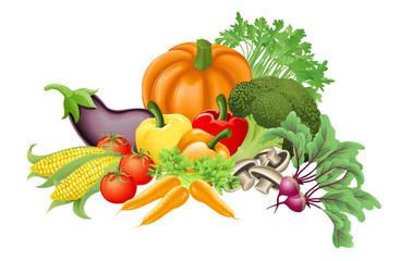 Tasty vegetables illustration