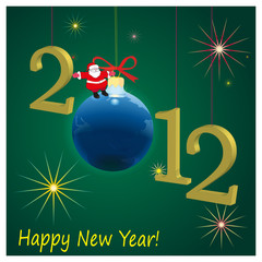 2012 New Year symbols  with Santa Claus and green background