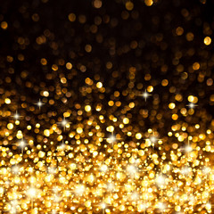 Golden Christmas Lights Background