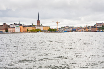 waterfront  and view on Knights church in Stockholm